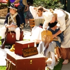 A group of re-enactors gathers during Rossini Festival.